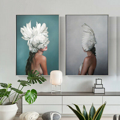 Feather Lady Sexy Wall Art Canvas Nordic Poster Abstract Print Living Room Decor