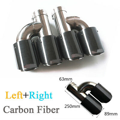 Black Glossy Real Carbon Fiber Car Left+Right Exhaust Dual Pipe Tail Muffler Tip