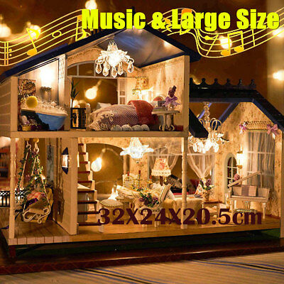 LED Light  Wooden Doll House With Furniture Music Kids Play Toy Christmas Gift