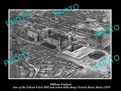 OLD LARGE HISTORIC PHOTO OF OLDHAM ENGLAND, VIEW OF THE BUSK MILLS c1930