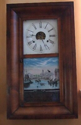 Antique American wall clock by Brewster, 30 hour