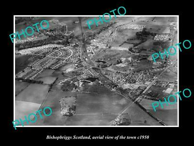 OLD LARGE HISTORIC PHOTO BISHOPBRIGGS SCOTLAND, AERIAL VIEW OF THE TOWN c1950
