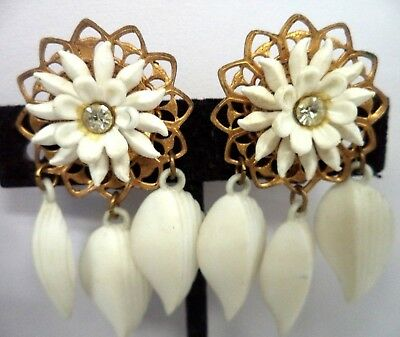 "Vintage Estate High End Rhinestone & Celluloid Flower 2"" Clip Earrings!!! G182D"