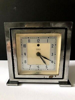 Vintage Art Deco TEMCO Chrome Plated & Bakelite Electric Mantel Clock 1930s 40s