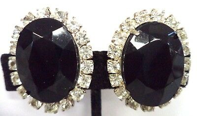 Stunning Vintage Estate High End B&w Rhinestone Flower 1 1/4 Clip Earrings G182F