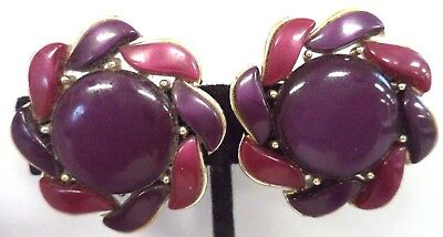 "*rare* Vintage Estate Signed Lisner Thermoset Flower 1 1/4"" Clip Earrings! G182H"