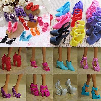 10Pairs Set For Doll Princess Gown Dress Clothes High Heel Sandals Shoes