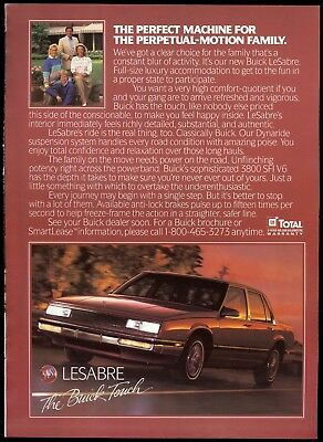 1989 BUICK LESABRE advertisement, Buick LeSabre sedan, Canadian advert.