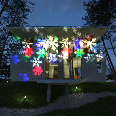 Outdoor Christmas Lights Projector Lamps Moving Rgb Snowflake Laser 6 Leds Decor