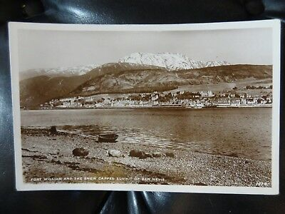 Fort William and the Snow Capped Summit of Ben Nevis JB White Real Photo Postcar
