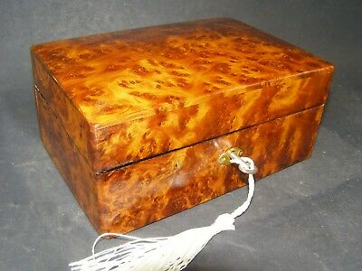 Antique Burr Wood Bedside Box Working Lock & Key Gently Domed Lid