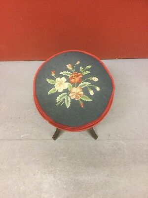 Antique Adjustable Revolving Piano Stool With Needle Point Seat Sn- 719
