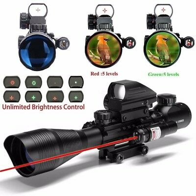 4-12X50 EG Rifle Scope w/ Red Laser Sight + 4 Holographic Dot Reflex Sight