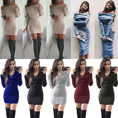 Damen Langarm Bodycon Strickkleid Pullikleid Pullover Party Abend Minikleid 40