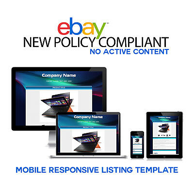 Mobile Responsive Professional eBay Auction Listing Template Laptop Computer