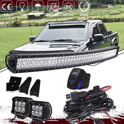 "42INCH Curved LED Light Bar Flood Spot Combo Offroad Truck 4WD 40"" + 4"" Pods"