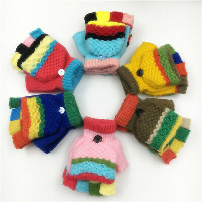Toddler Baby Kids Cute Thicken Patchwork Infant Girls Boys Winter Warm Gloves AB