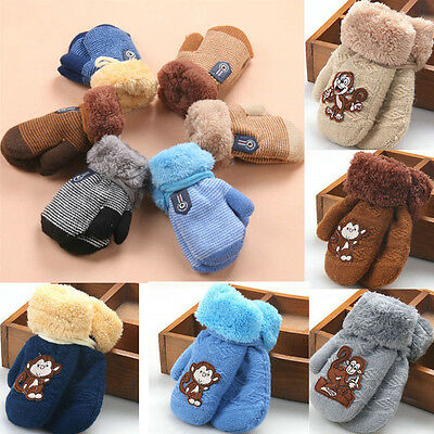 Winter Warm Thicken Baby Boy Girls Kids Fur Ski Gloves Neck String Mittens AB