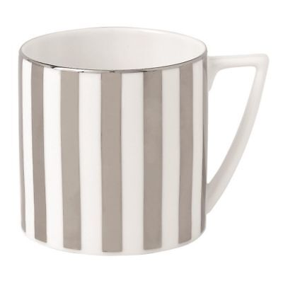 New 2 x Jasper Conran For Wedgwood Platinum Striped Mug ( pair of mugs) rrp £56