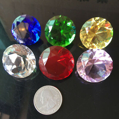 6Pc 30mm Colorful Art Crystal Paperweight Cut Glass Giant Diamond Decor Gift