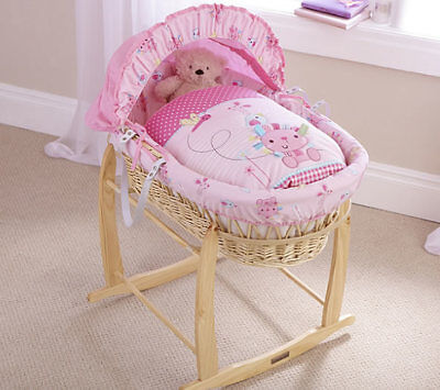 New Clair de lune natural wicker moses basket Lottie & squeek with rocking stand