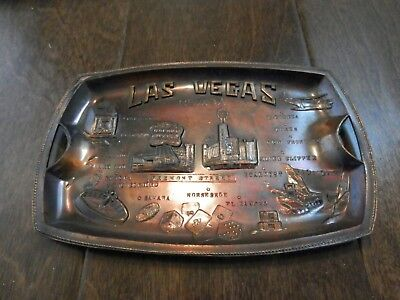 Vintage Brass / Bronze Toned Las Vegas, Nevada ashtray / coin tray