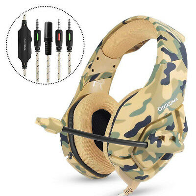 Gaming PC Mic Stereo Headset Headphones Tablet Camouflage For ONIKUMA K1-B