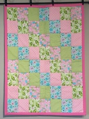 Pea in a Pod Baby Girl Baby Quilt Handmade Pastel Colors Spring Summer Pink NEW