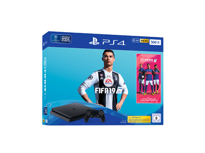 SONY PS4 PlayStation 4 Slim 500GB Jet Black Konsole + FIFA 19 Schwarz NEU