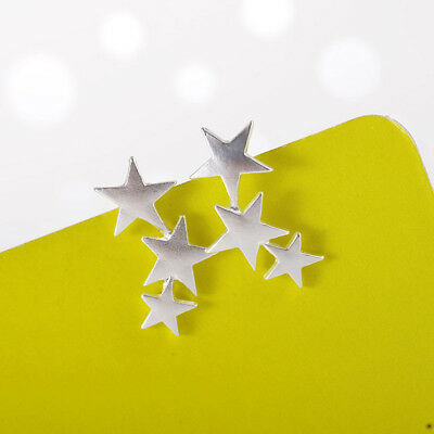Women Gold/Silver 3 Stars Star Ear Stud Climber Earrings Jewelry Gift  6A