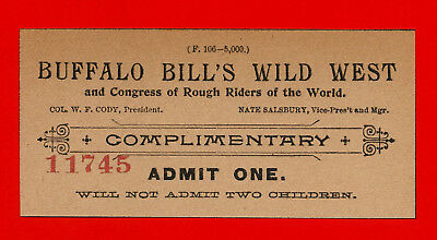 Buffalo Bill's Wild West Show Ticket Reprint On 100 Year Old Paper *9046