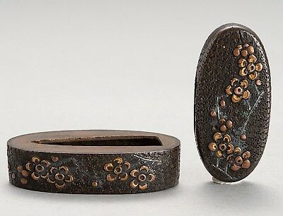 Flowers Fuchi & Kashira pair Antique japanese sword fittings koshirae wakizashi