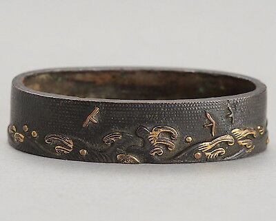 "Nanakoji Fuchi ""waves & birds"" antique original japanese sword fittings koshirae"