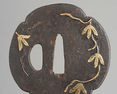 Antique original MOKKO GATA TSUBA Japanese sword fittings koshirae wakizashi