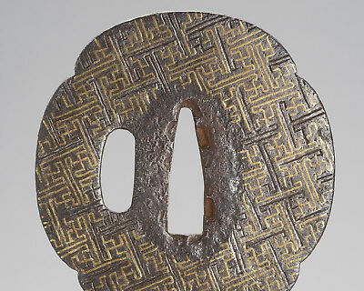 Mokko-gata Tsuba Antique original japanese sword fittings koshirae Edo period