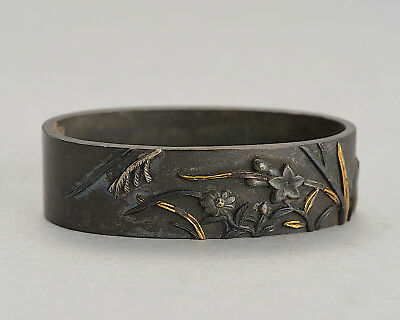 "Shakudo Fuchi ""Flowers"" antique orig japanese sword fittings samurai koshirae"