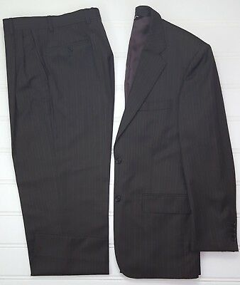 Pronto Uomo Couture Suit 38R Brown Pinstriped Two Button Wool Super 120s Mens Sz