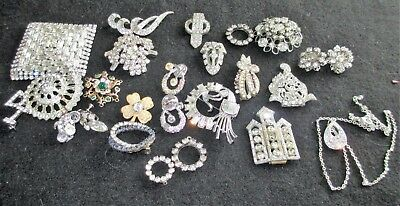 Lot of 24 Vintage Antique Rhinestone Jewelry Pins Dress or Shoe Clips Earrings
