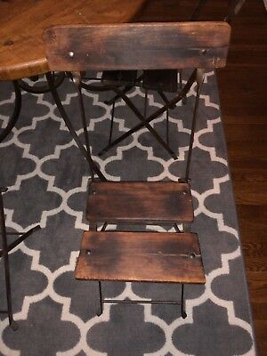 Four Vintage French Wood And Metal Cast Iron Folding Bistro Chairs