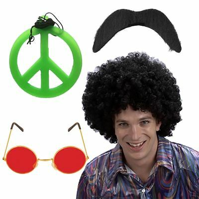 Adults Hippie Hippy Afro Wig Medallion Moustache Glasses And Necklace 1970s Set