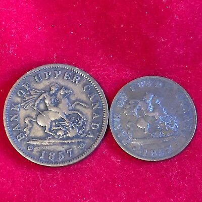 1857 Bank Of Upper Canada Penny & Half Penny Dragon Slayer Token Coin