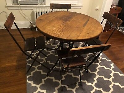 Vintage Antique French Wood And Metal Bistro Table Cast Iron Excellent Art Deco