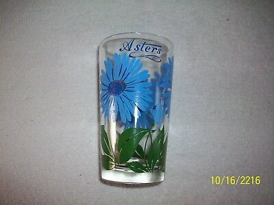 Nice Vintage Beautiful Blue Aster Floral Design Peanut Butter Glass