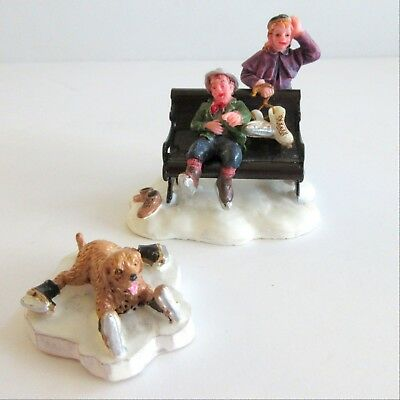 Lemax Christmas Figure ICE SKATING DOG SLIPPED ON ICE COUPLE RESTING 2 pieces