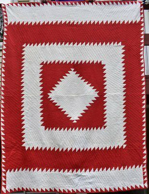 """Antique Red and White Quilt, """"Sawtooth Diamond in a Square"""", #18417"""