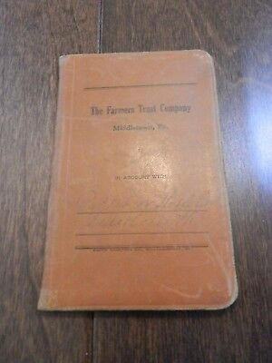 VINTAGE 1920's  Leather Deposit Book - The Farmers Trust Company Middletown PA