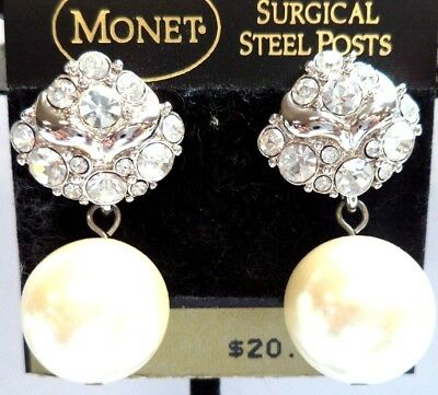 "Vintage Estate Signed Monet Faux Pearl 1 1/4"" Pierced Earrings On Card!!! 5029U"