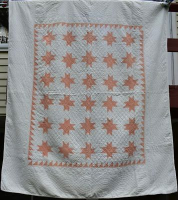 """Antique Peach and White """"Eight Pointed Star"""" Quilt, Sawtooth Border, #18419"""