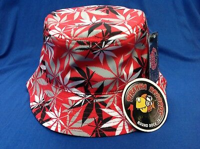 Black/White/Gray Weed Leaf Printed Red Full-Brim Bucket Hat ONE SIZE Piranha