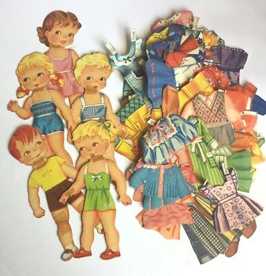 Vintage paper dolls, boys and girls 1950s - big set, 100+ pieces!